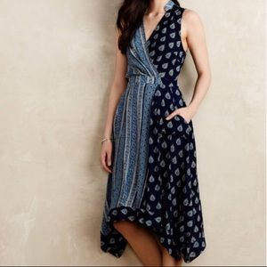 Anthropologie Maeve Eclipsed Wrap Mix Print Dress